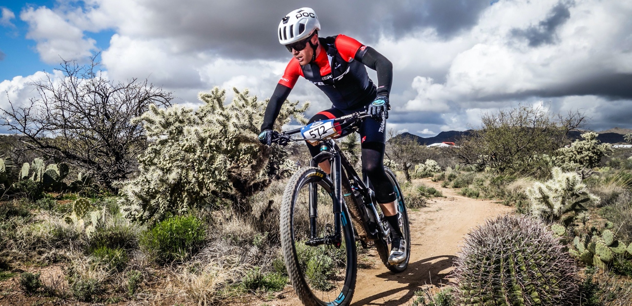 A cyclists ride the 24 hours in the Old Pueblo course